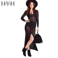 HYH HAOYIHUI Sheer Hollow Out Bodycon Lace Dress Sexy Slim V Neck Summer Dress Solid Black