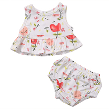 2pcs Sets Newborn Baby Girls Clothes Floral T-shirt Tops+Short Shorts Baby Girls Cute Summer Outfit Clothes