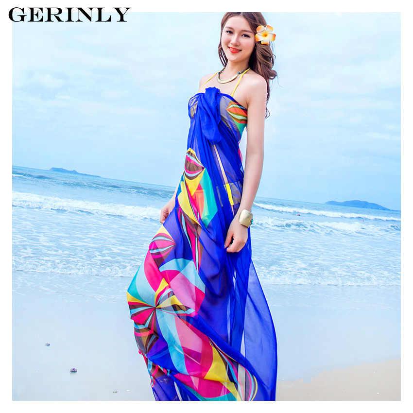 ba4789d94e 140x190cm Pareo Scarf Women Beach Sarongs New Summer Chiffon Scarves  Geometrical Design Swimsuit Cover Up Bikini