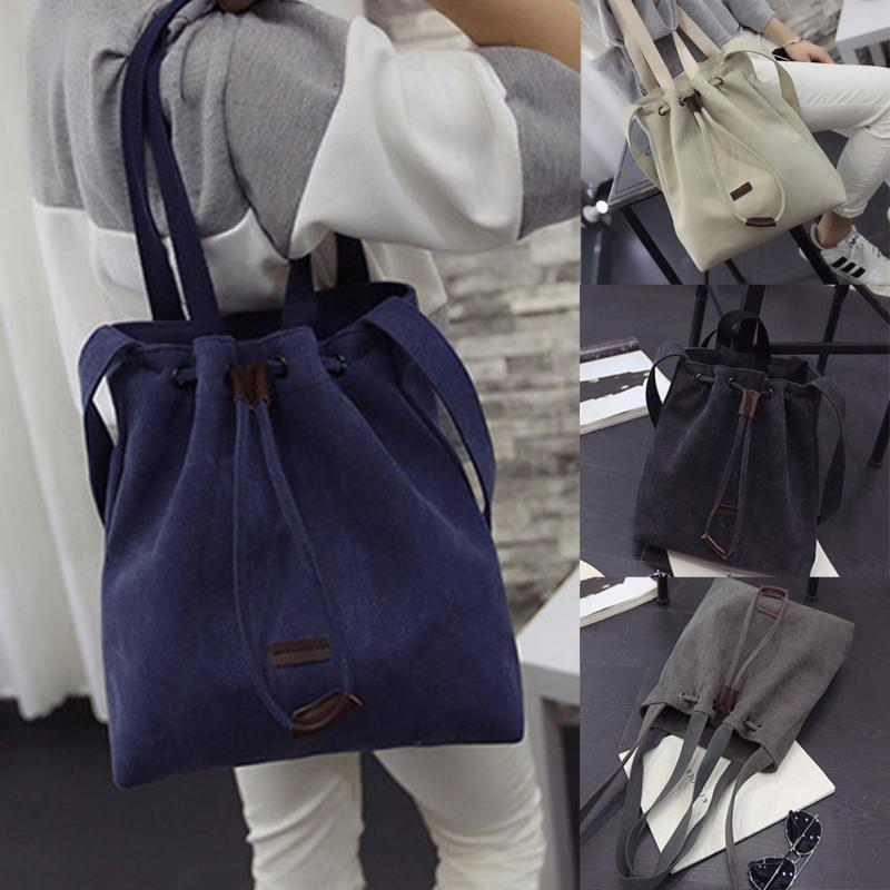 2018 New Women Canvas Shoulder Bags Drawstring Handbag Bucket Tote Messenger Bags Purse Satchel Fashion Bags for Women preppy style drawstring and canvas design satchel for women