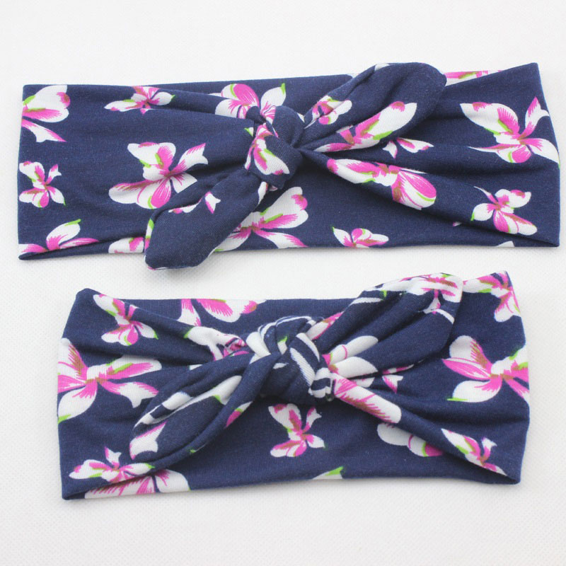 Mama Lovely Bohemia Elastic Stamp Bow Hairband Print Flower s
