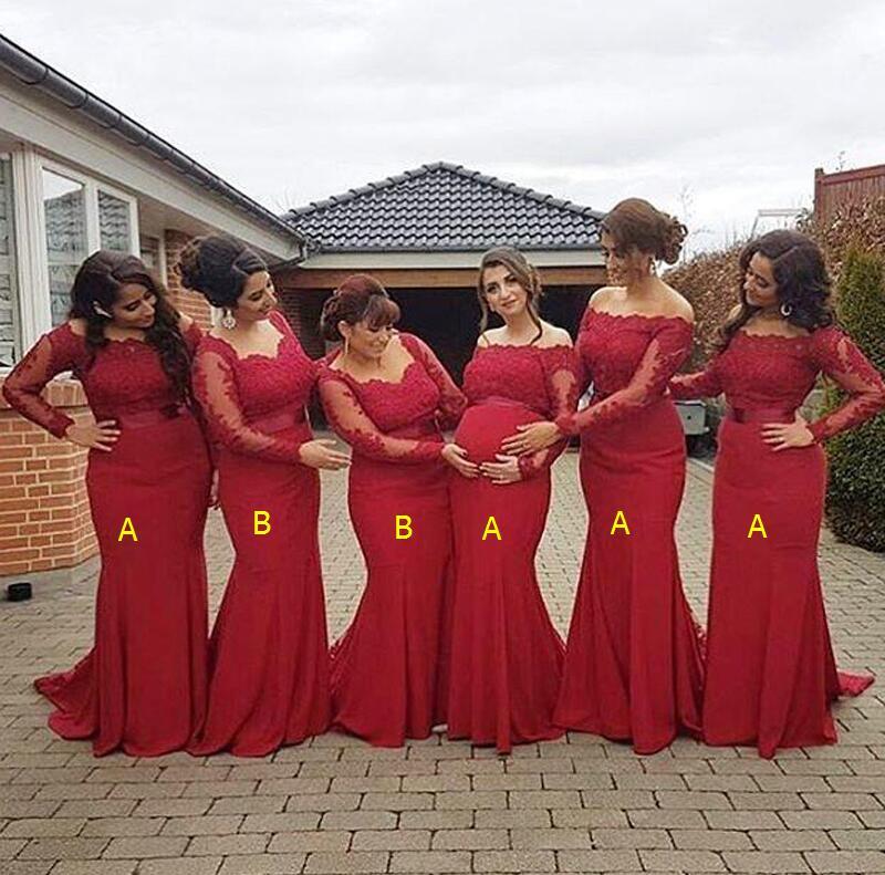 2018 Enceinte Africain Taille D'honneur Nouvelle Robes Bourgogne Épaules Longues Formelle Dos Nu Grande Demoiselle Grossesse Dénudées Manches Robe À Arabe Rouge En Dentelle rHwzrqEg
