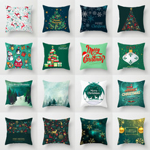 Elife Polyester Artifical Merry Christmas Deer cushion cover throw Happy new year pillow case sofa car Bed Home Decor 45*45CM christmas decor sleeping bed throw pillow cover