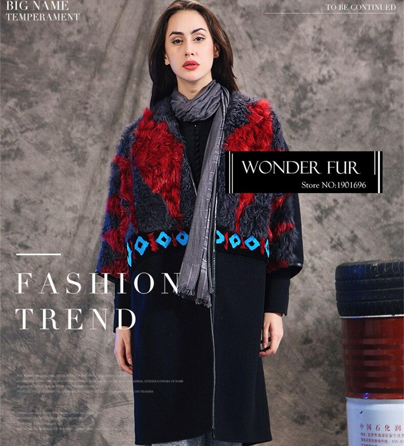 Vintage Trois Vêtement Fourrure Black Trimestre Geniune Élégant Manches Motif Manteau Multicolore Laine Veste Avec D'agneau Woolen De FTPtxXxn