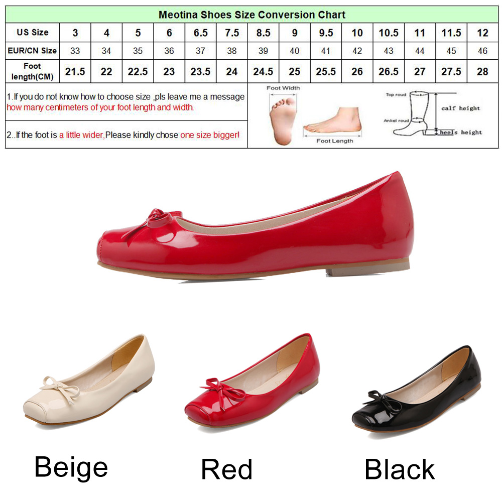 Meotina Women Shoes Ballet Flats Women Flats Bow Square Toe Ballerina Flat Boat Shoes Loafers Shoes Big Size 33-46 Zapatos Mujer 5