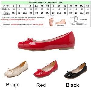 Image 5 - Meotina Frauen Schuhe Ballerinas Frauen Wohnungen Bogen Karree Ballerina Flache Boot Schuhe Müßiggänger Schuhe Große Größe 33 46 Zapatos Mujer