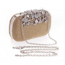 Роскошный цветок горный хрусталь застежка серебряные алмазные Кристальные бриллиантовые вечерние сумки день сцепления цепи Кошелек Вечеринка Выпускной подарок для девочек на день рождения