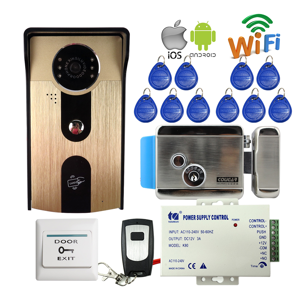 FREE SHIPPPING RFID Access Wireless Wifi Video Door Phone Intercom Outdoor Doorbell Camera for Android IOS Phone + Electric Lock rfid reader wifi 720p hd video doorbell intercom phone camera for android ios phone with electric strike lock for door access