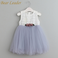 Bear Leader Girls Dresses 2017 Summer Style Sleeveless Children Clothes Flowers Design Cute Ball Gown For