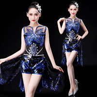 Adult female modern dance costumes new style sequins square dance jazz stage costume opening dance set