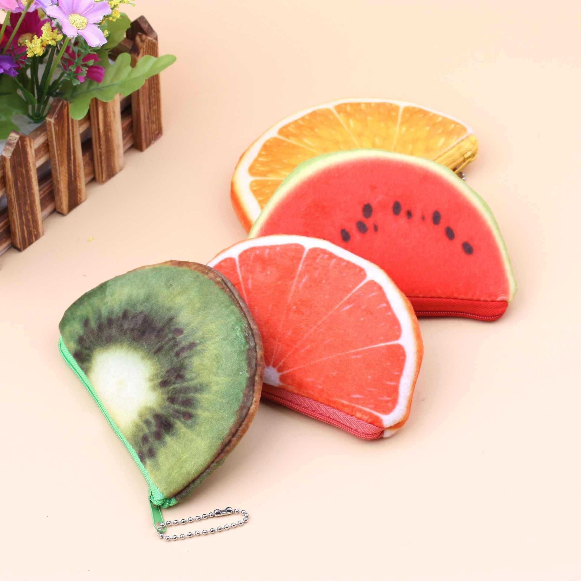 Frutas Forma Laranja Morango Melancia Bolsas De Pelúcia Brinquedos de Pelúcia Crianças Meninas Bolso Bolsa Chaveiro para Presentes de Ano Novo