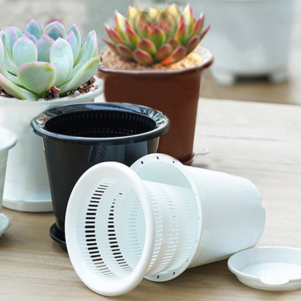 New Drainage Slotted Hole Succulents Orchid Flower Inner Outer Pot Container Home Office Decor Planter Desktop Flower Pots