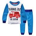 Мальчики тепловой ночное белье, печатные пожарная машина, дети пижамы бархат утолщение, детская одежда набор, следующая * одежда стиль прильнуть пижамы