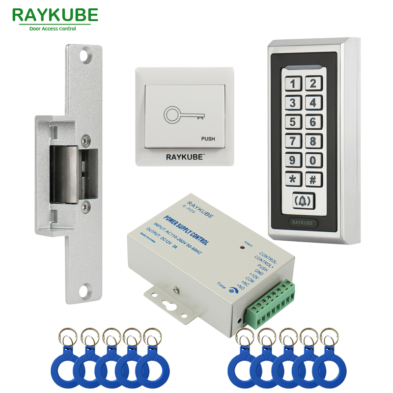 RAYKUBE RFID Access Control Kit Electric Strike Lock + Access Control Metal Password Keypad +ID Keyfobs+Exit Button diysecur magnetic lock door lock 125khz rfid password keypad access control system security kit for home office