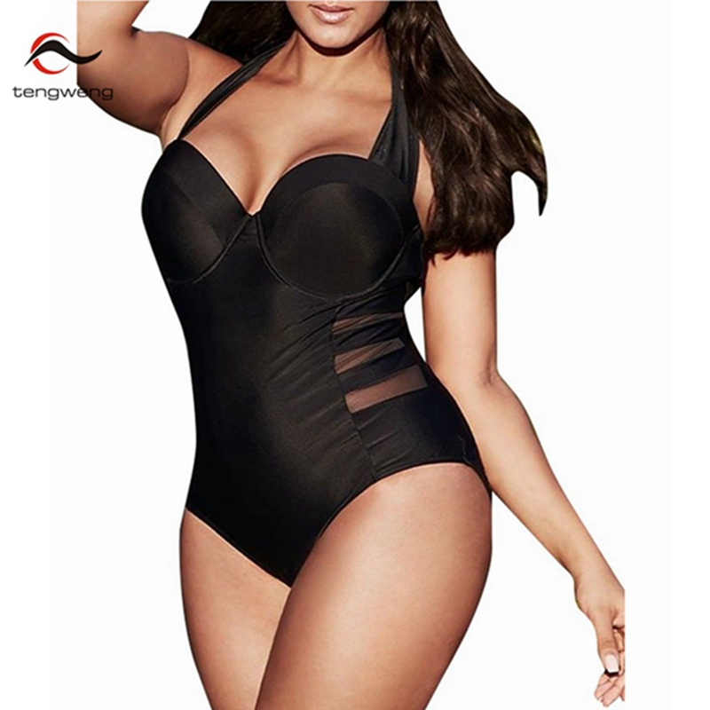 2017 New Halter One Piece Swimsuit Women Plus Size Swimwear Retro Vintage Bathing Suit Mesh Beachwear Black Push Up Monokini 4XL swimming suit women push up swimsuit one piece monokini swimwear big flower print costumes vintage stripe beachwear plus size