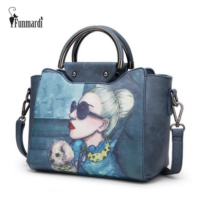 FUNMARDI Character Girl Printing Leather Women Bags Luxury Brand Design Leather Messenger Bag New Fashion Crossbody Bag WLHB1623