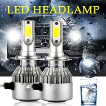 2 шт. C6 h4 светодиодный Автомобильные фары h7 светодиодный 36 Вт COB H1 H3 H4 H7 H11 9005 9006 9012 светильники Противотуманные огни автомобиля для укладки волос