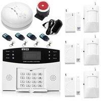 Home Security Alarm systemen Metalen Afstandsbediening Voice Prompt Draadloze Deur sensor Lcd Bedrade Sirene Kit SIM SMS GSM alarm