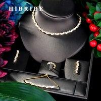 HIBRIDE Luxury Flower Boom Women Wedding Bride Cubic Zirconia Necklace Earring Dubai Jewelry Set Jewellery Addiction N 23