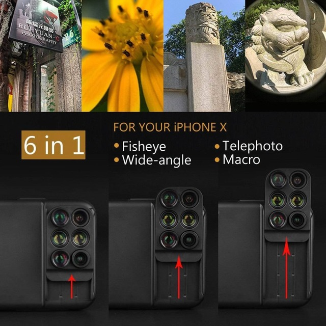 Dual Camera Lens 6 in 1 Fish eye Lens For iPhone X