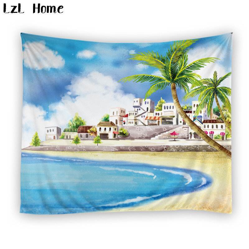 LzL Home 1 PS polyester wall carpet coconut tree ocean scenic tapestry machine washable jacquard gobelin wall hanging tapestry
