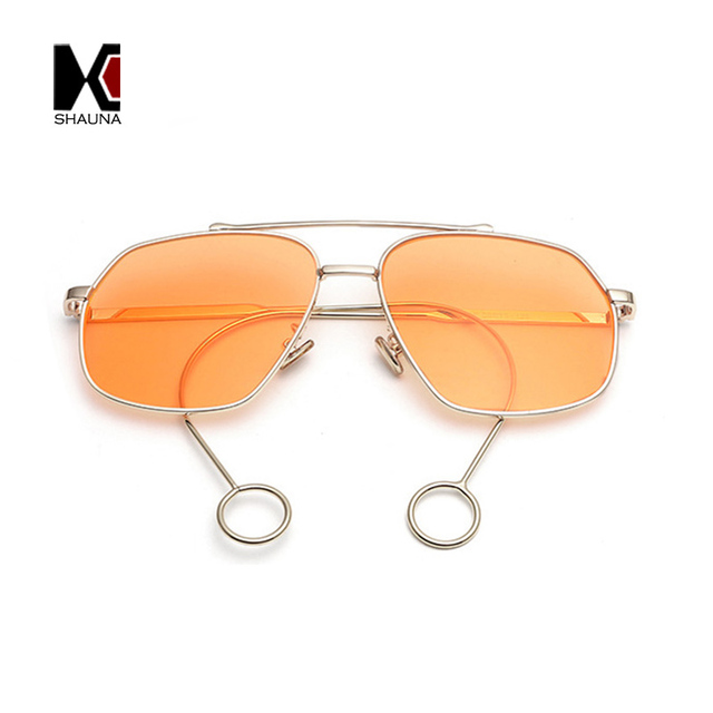 4ede7720214a SHAUNA Unique Special Legs Women Square Sunglasses Fashion Double Bridges  Men Orange Tint Lens Shades UV400