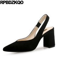 High Heels Chunky Slingback Fashion Work Pumps Size 4 34 Light Blue Women Shoes Office 2018 Elegant Suede Black Pointed Toe 33