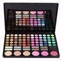 Pro 78 cores da paleta da sombra de maquiagem em pó cosméticos escova kit caixa com mirror women make up ferramentas sombra de olho