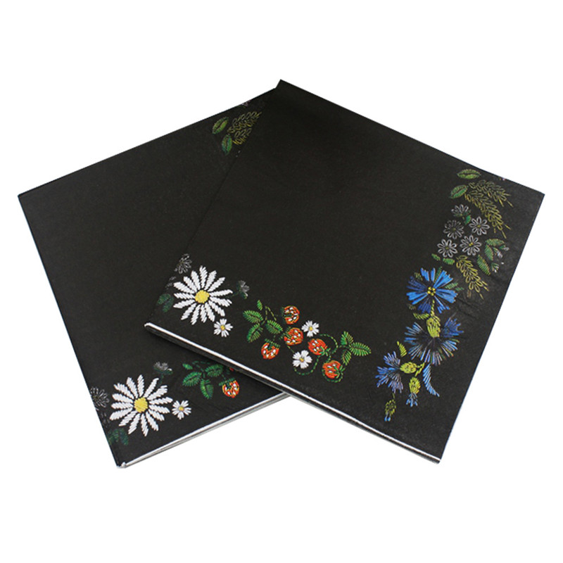 Beverage Paper Napkins Black Flower Event & Party Tissue Napkins Decoration Serviettes 33cm*33cm 20pcs/pack/lot