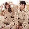 Coral de veludo padrão de Urso conjuntos de Amante Casal Pijama de flanela com capuz pijamas Sleepwear Pijama Dos Homens & Lady Roupas Casuais Casa