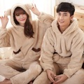Coral velvet Bear pattern pijamas flannel hooded Couple Pajamas sets of Lover Sleepwear Men & Lady Casual Home Clothing Pijama