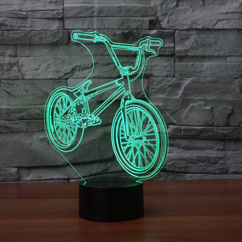 3D LED BMX Night Light 7 Colors Change Bicycle Shape USB Bedside Table Lamp Bike Home Decor Bedroom Sleep Light Fixture Gift 3d luminous ice hockey player shape led table lamp 7 colors changing home living room decor light fixture baby sleep night light