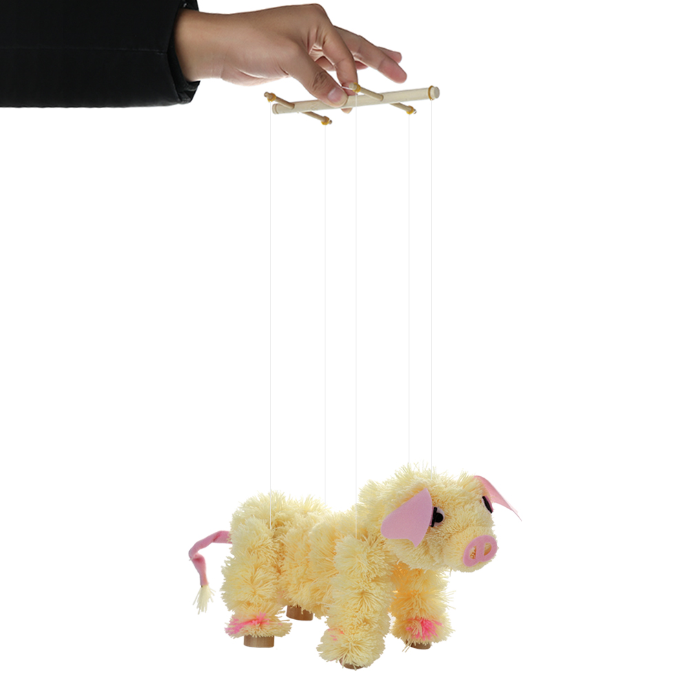 Novelty Toy Pull String Puppet Piggy Stuffed Marionette Toy Joint Activity Doll Festival Gift