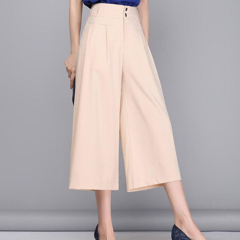 Women OL Wide Leg Pants 2016 Summer Elegant Linen Pants Women Black/White/Beige 3/4 Trousers Pantalon Femme Plus Size S-3XL A318