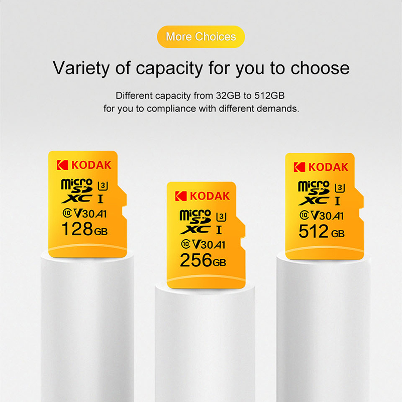 Kodak U3 V30 U1 Class10 MicroSD XC SDHC sd card Memory TF Flash Card 512GB 256GB