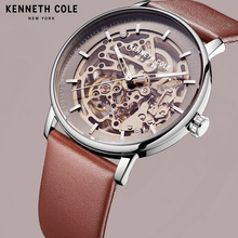 Kenneth Cole Mechanical Mens Watches Brown Gold Automatic Wind Leather Buckle Waterproof Luxury Brand Male Watches KC15104001 цена