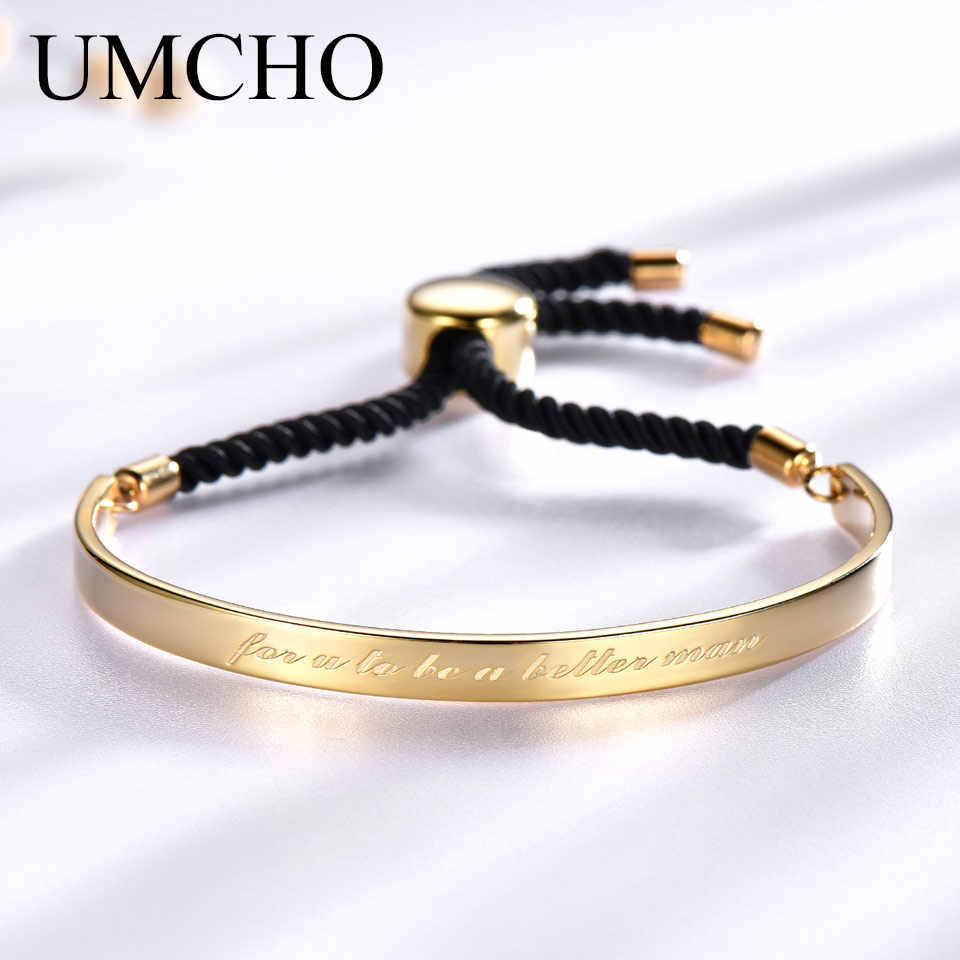 UMCHO Solid 925 Sterling Silver Bangles Free Expansion Anniversary Band Gifts Couple Bracelets & Bangles For Women Fine Jewelry