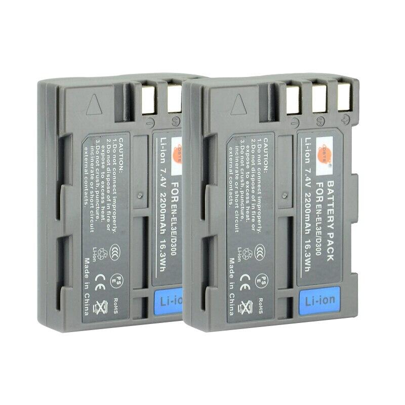 DSTE 2 pcs EN-EL3E en-el3e Batterie Rechargeable pour Nikon D70 D70S D80 D90 D100 D200 D300 D300S D700 Caméra