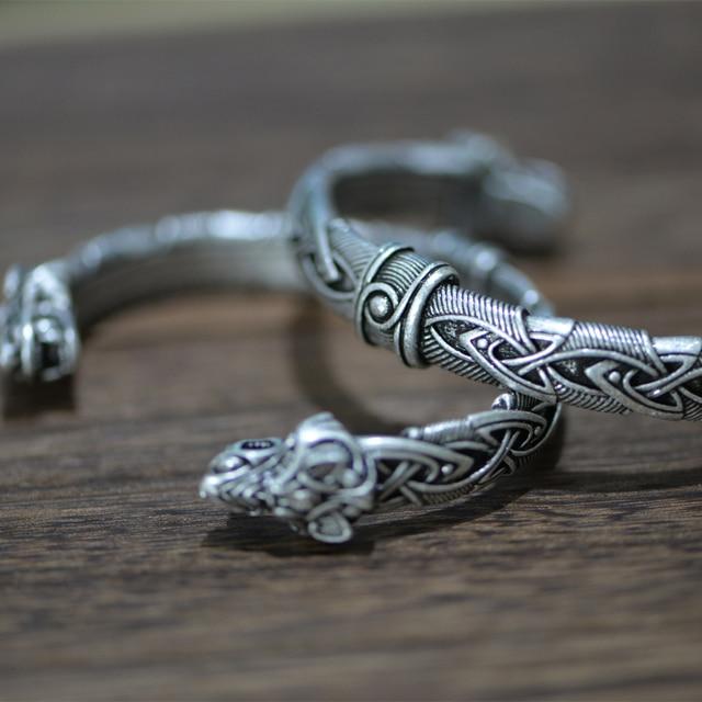 Langhong 10pcs norse viking pulseira e pulseira cabeça de lobo para homem e mulher talismã jóias