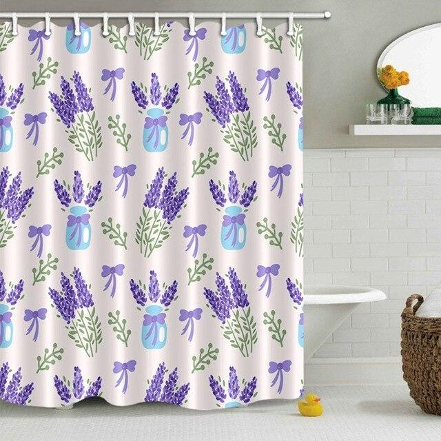 LB Purple Lavender Flower Bow Vase Fairy Shower Curtain Bathroom Curtains Floral Waterproof Polyester Fabric For Bathtub Decor