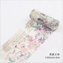 100mm Vintage poetic flowers memory decoration planner washi tape DIY scrapbooking diary album masking tape escolar
