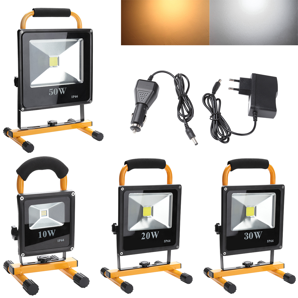 10W 20W 30W 50W Portable LED Flood Light IP66 Rechargeable Outdoor Lighting Camping Emergency Lamp LED Spotlight Reflector