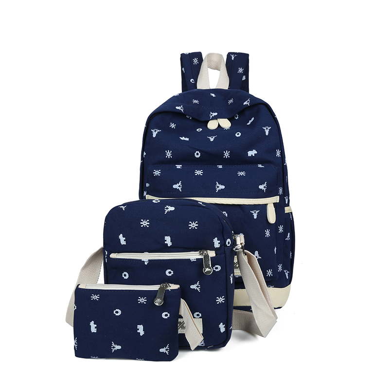3Pcs Sets Casual Women Backpacks Canvas Book Bags Preppy Style School Back Bags for Teenage Girls