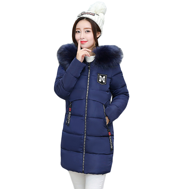 Fashion 2017 Women Winter Jacket Warm Fur Hooded Parkas Female Long Casual Cotton-padded Thickening Winter Coat Outwear CM1732 qazxsw fashion casual denim jackets winter coat women faux fur hooded thick warm outwear long cotton padded jeans parkas zj961