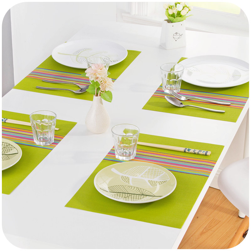 1pc 30 45cm Seven Colorful Dinner Placemats Pvc Place