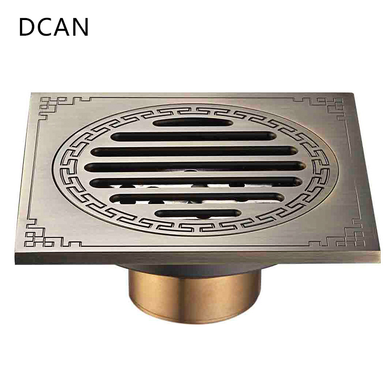 DCAN Waste Antique Floor Drain Brass Bathroom Accessory Euro Linear Shower Wire Strainer Carved Cover Drains Drain Strainers drains 10 10cm antique brass shower floor drain cover euro art carved bathroom deodorant drain strainer waste grate hj 8507s