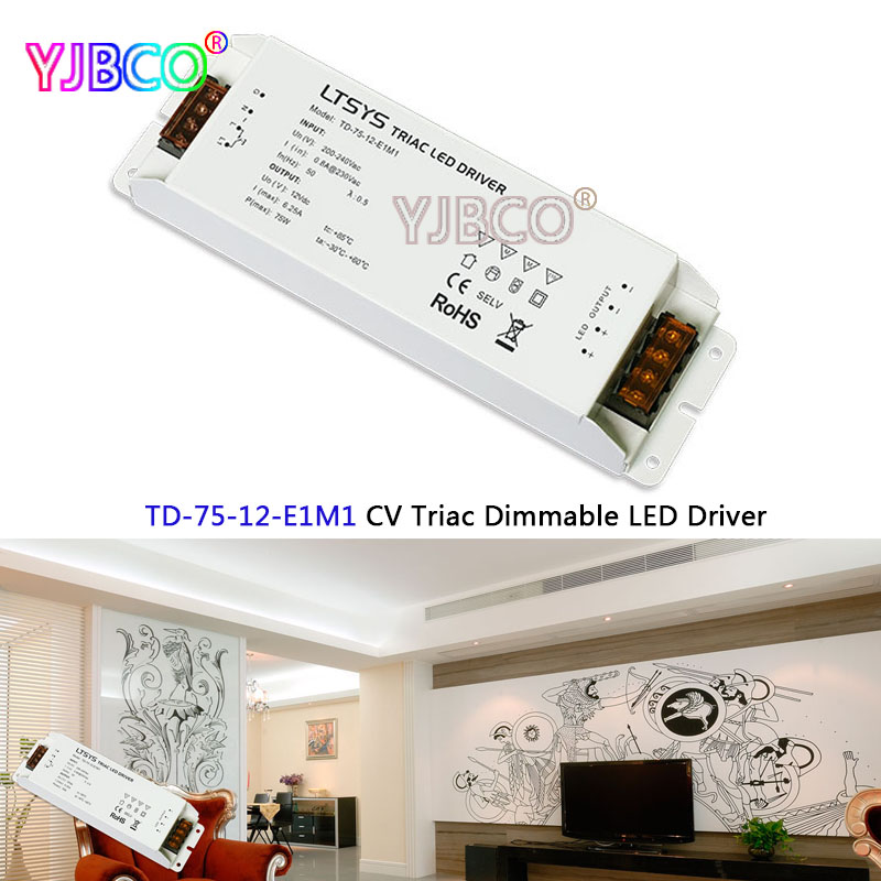 LTECH intelligent led driver TD-75-12-E1M1; 75W 12VDC 6.25A constant voltage Triac Dimmable LED Driver  Triac Push Dim kvp 24100 td 24v 100w triac dimmable constant voltage led driver ac90 130v ac170 265v input