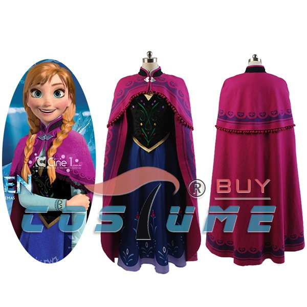 Princess Anna Cosplay Costume Adult Dress Gown Halloween Carnival Costumes the little mermaid ariel princess dress cosplay adult ariel mermaid costume women mermaid princess ariel green dress cosplay