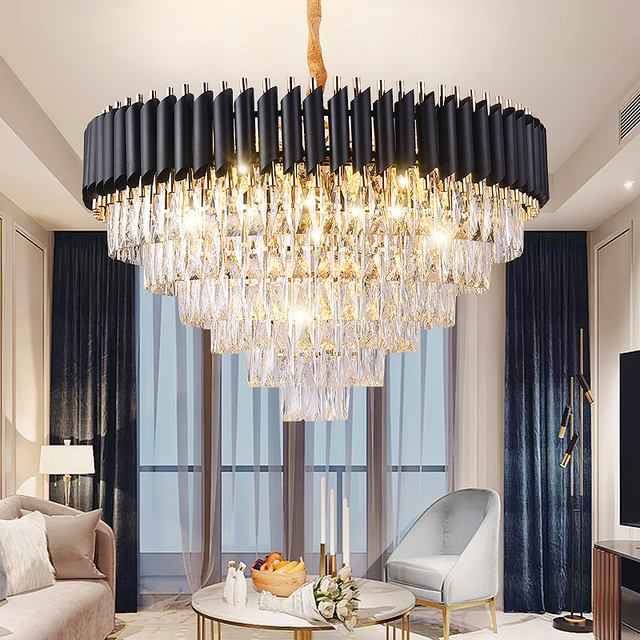 Modern Lustre Crystal Led Chandelier Lighting Black Metal Living Room Led Pendant Chandeliers Lights Dining Room Hanging Lamp