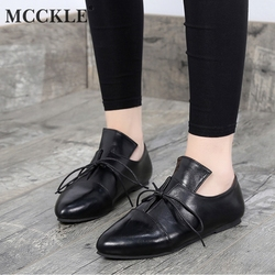 MCCKLE Plus Size Women Flat Shoes Spring Casual Lace Up Low Heel Fashion Pointed Toe Female Footwear Retro Soft Oxford Shoes